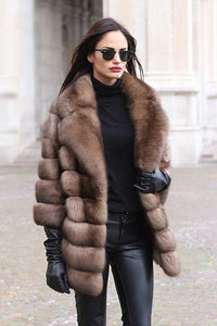 Ladies Fashion Top Street Faux Fur Coat