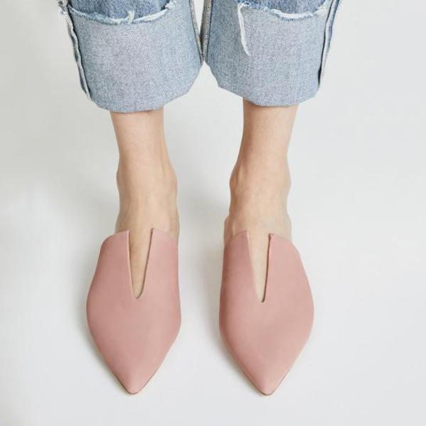 Pink Pointed Toe Mules Shoes