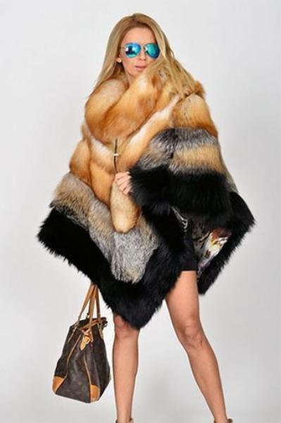 Red Fox Faux Fur Poncho