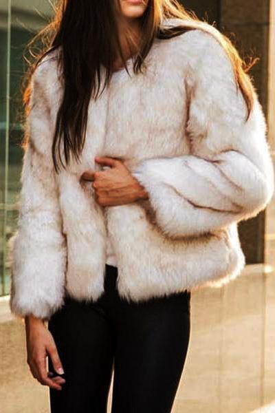 Short Collarless Unremovable Fur Collar Fur Coats