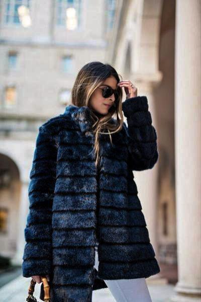 Royal Blue Fashion Fur Coats