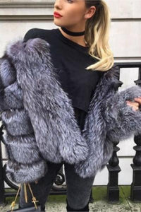 Silver Faux Fox Fur Coats