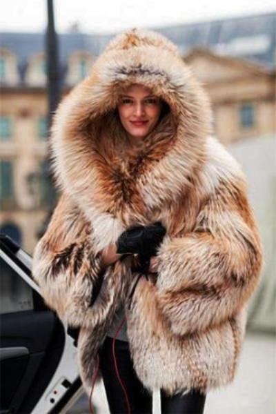 Hooded Faux Fox Fur Coat
