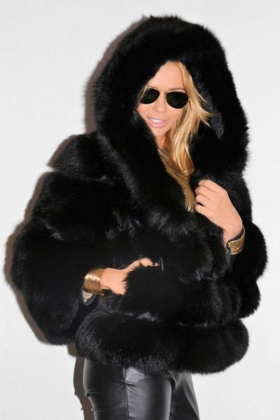 Woman Short Hooded Faux Fur Coat