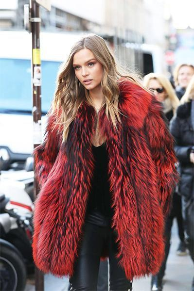 Medium Long Red And Black Fur Coat