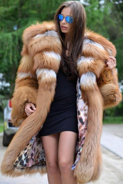 Silver Faux Fox Fur Coat