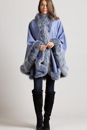 Oversize Cashmere Fantastic with Faux Fur Poncho