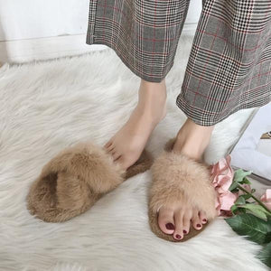 Intersect Shape Fur Slipper
