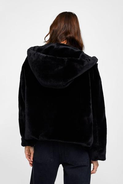 Faux Fur Solid Hooded Jacket