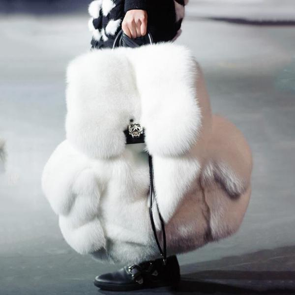 Solid Color Fur Backpack
