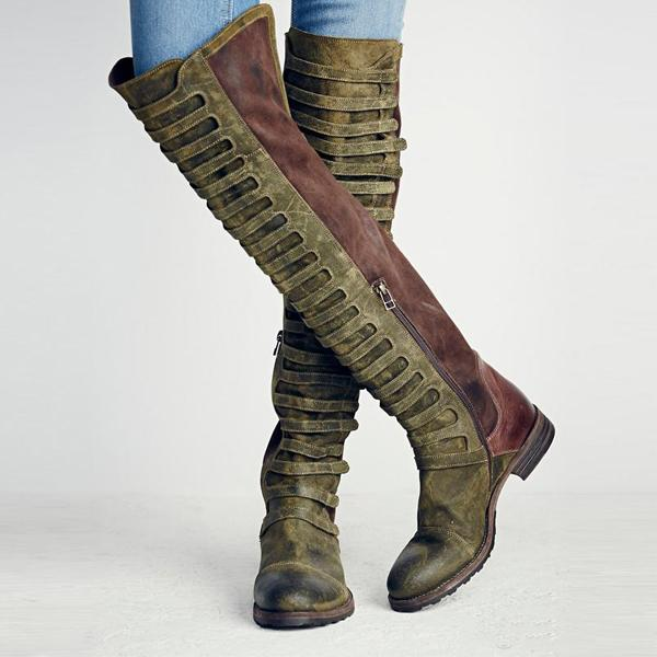 Patchwork Knee High Low Heel Boots