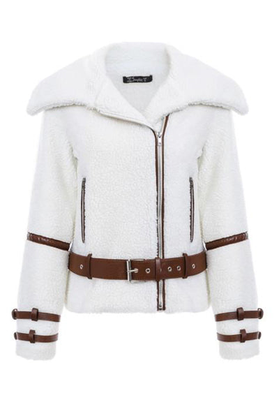 Faux Fur Lamb Coat With Belt