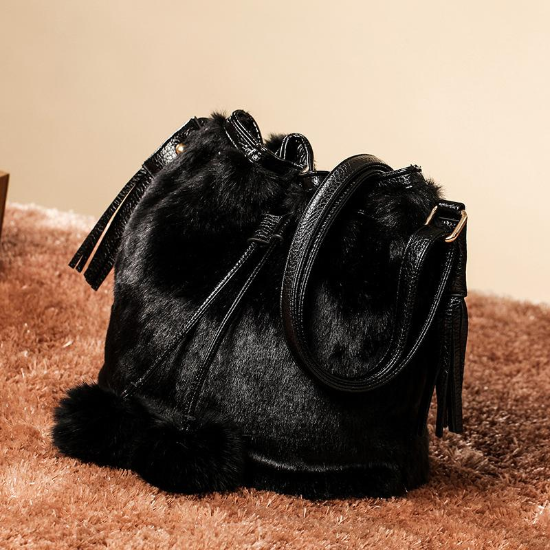 Faux Rabbit Fur Bucket Satchel