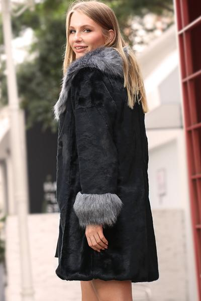 Silver Fox Fur Collar Faux Fur Coat