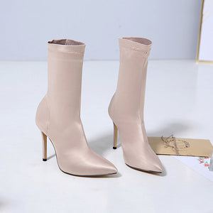 Satin Pointed Toe High-heeled Boots