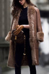 Plus Sizes Long Leather Coat With Faux Fur