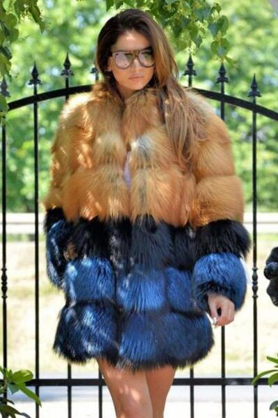2-Color Faux Fur Coat
