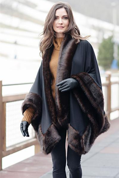 Russian Sable Faux Fur-Trimmed Shawl
