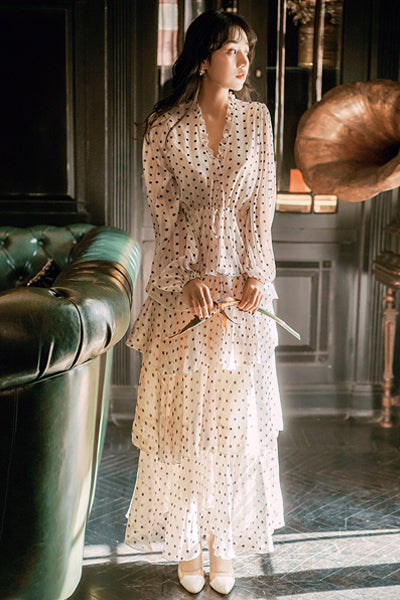 Elegant Vintage Polka Dot Long Dress