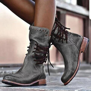 Low Heel Rivet Boots