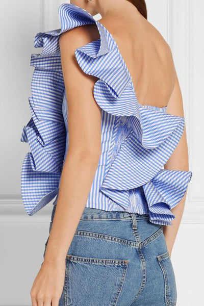 One-Shoulder Ruffled Blouse