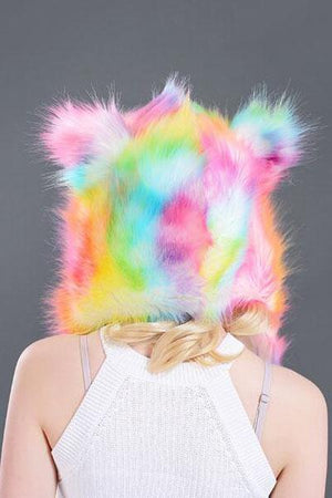 Rainbow Color S-Type Faux Fur Animal Hat COSPLAY Hat Scarf & Gloves In One