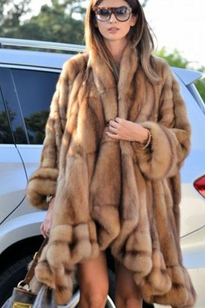 New Natural Cosy Sable Faux Fur Coat