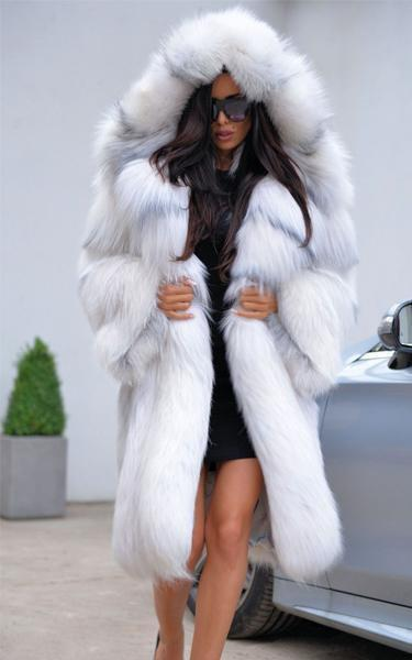 Silver Chinchilla Hood Faux Fur Coat