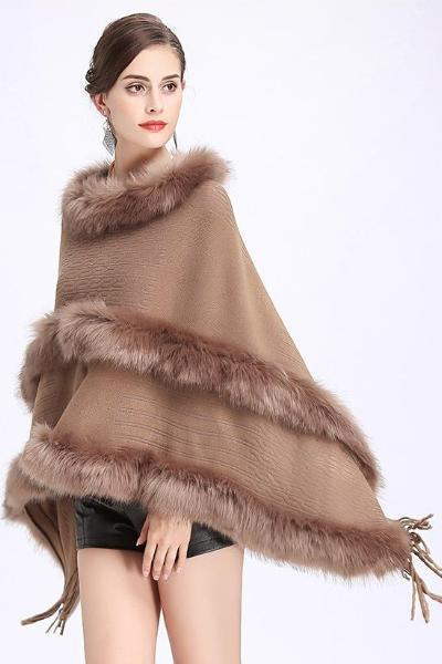 Solid Color Faux Fur Poncho