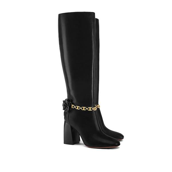 Knee-high Blossom Leather Boot