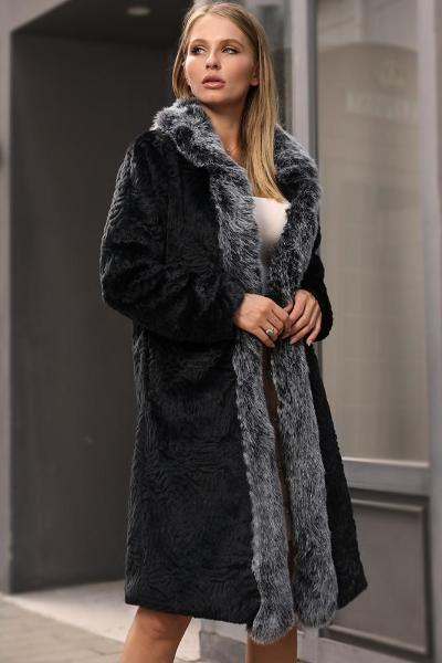Black Long Fur Collar Coat