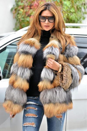 Multi Color Faux Fox Fur Jacket
