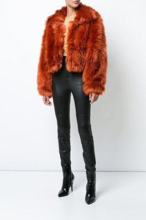 Fashion Cropped Faux Fur Jacket