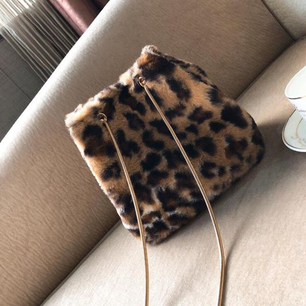 Leopard Faux Fur Shoulder Messenger Bag
