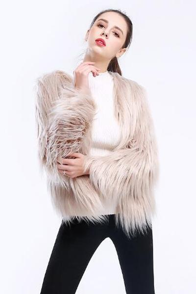 Long Sleeve Large Size Faux Fur Coat