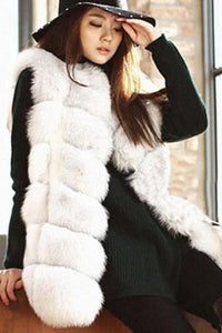 Collarless Faux Fox Fur Vest