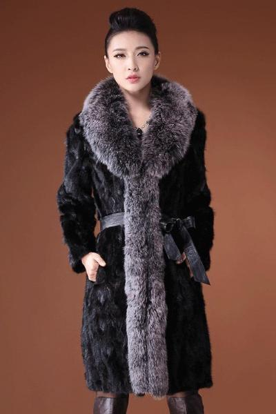 Black Long Faux Fur Collar Coat