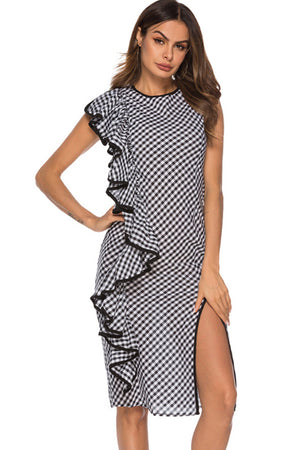 Ruffled Irregular Plaid Dress
