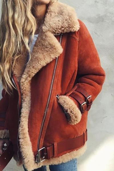 Leather Fur Zipper Jacket Coat