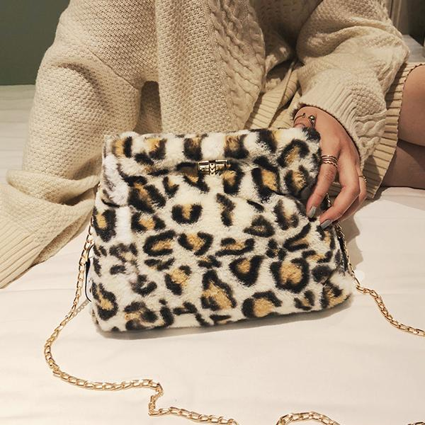 Fashion Leopard Twist Chain Crossbody Bag