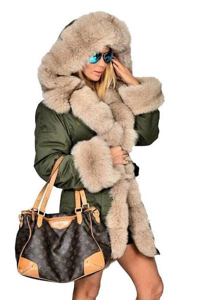Long Hooded Fur Jacket