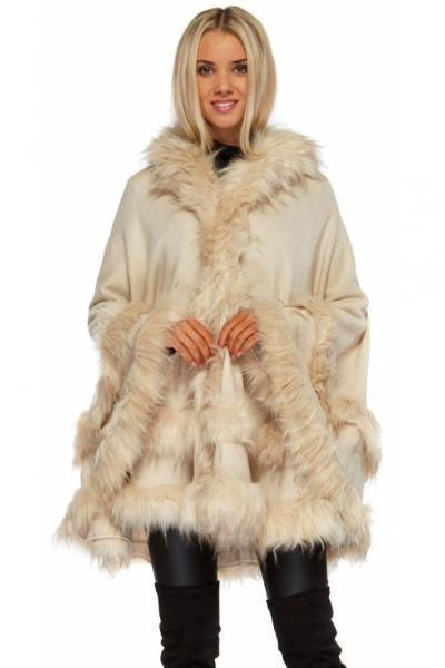 Double Layered Hooded Faux Fur Cream Poncho
