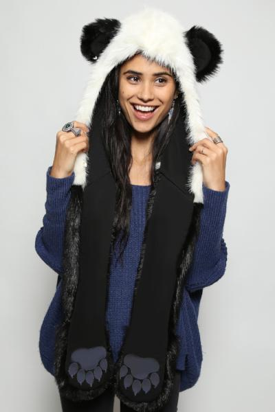 Cute Panda Hooded Fur Scarf