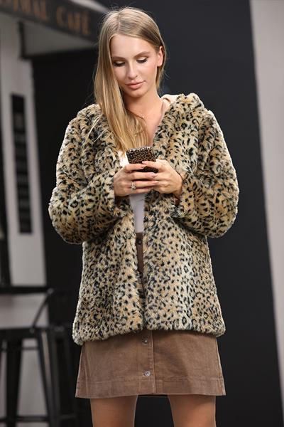 Cute Leopard Faux Fur Coat