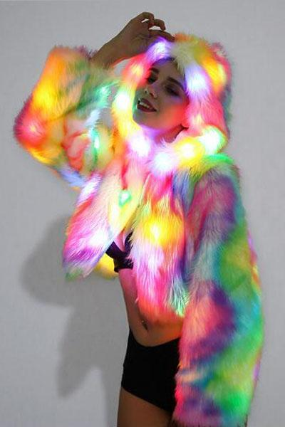 Rainbow Light up LED Faux Fur Jacket