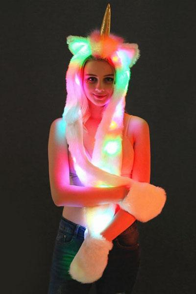 Unicorn Faux Fur LED Stage Cap