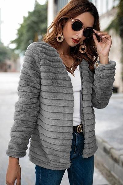 Collarless Thin Faux Fur Coat