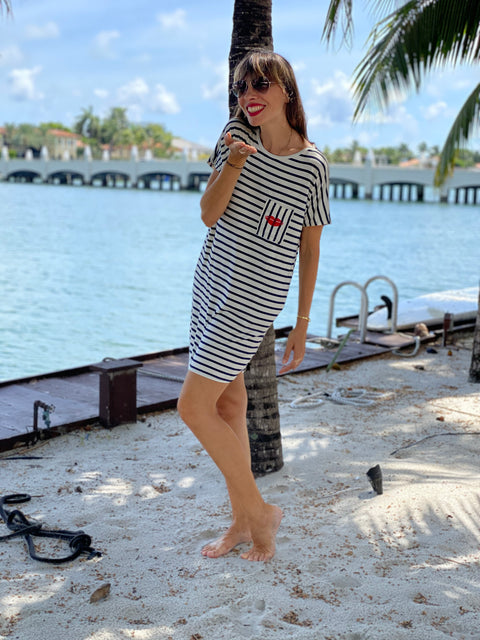 Nautical T-shirt dress Bisou Bisou