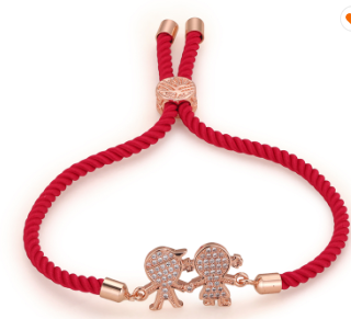 Friendship Bracelet Red and Rose Gold