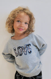 Scoop Neck Love Sweatshirt | KIDS